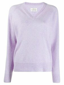Maison Margiela v-neck knitted jumper - PURPLE
