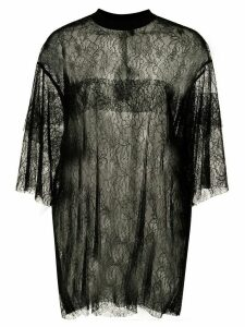 Vera Wang oversized sheer lace T-shirt - Black