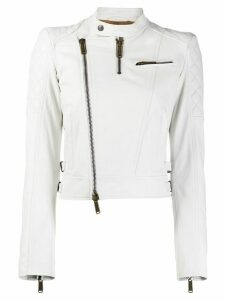 Dsquared2 quilted panelled biker jacket - White