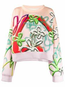 Maison Margiela graffiti flower print sweater - ORANGE
