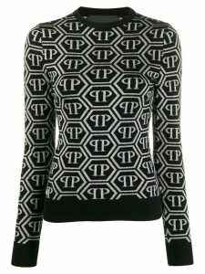 Philipp Plein logo print long sleeve knitted top - Black
