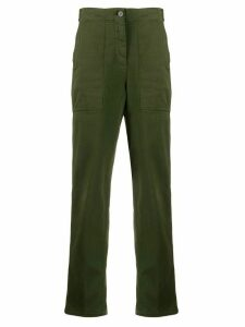 Aspesi mid-rise cropped utility trousers - Green