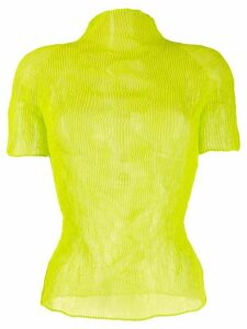 Issey Miyake micro-pleated fitted top - Yellow