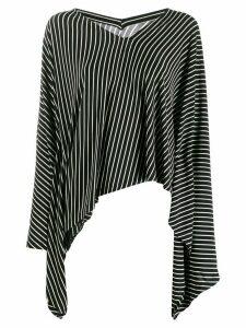 Mm6 Maison Margiela striped asymmetric hem top - Black