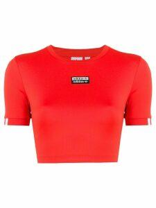 adidas logo stripe cropped T-shirt - Red