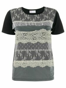 RedValentino lace-overlay T-shirt - Black