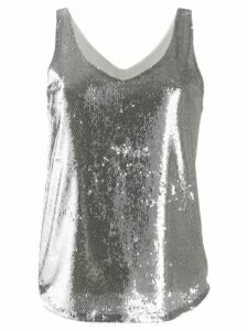 Blanca Vita scoop-neck sequin top - SILVER