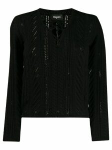 Dsquared2 crochet tie neckline jumper - Black