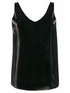 Blanca Vita scoop-neck sequin top - Black
