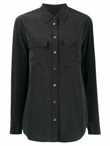Equipment patch-pocket crepe de Chine shirt - Black