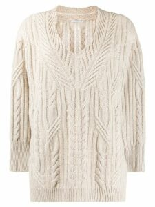 Agnona cable-knit jumper - NEUTRALS