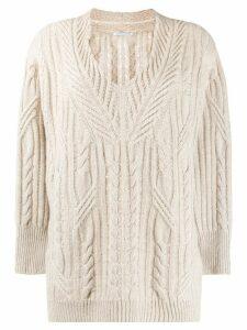 Agnona cable-knit jumper - NEUTRALS