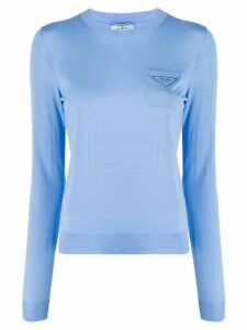 Prada chest pocket crew neck jumper - Blue
