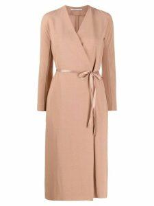 Agnona crepe wrap-effect dress - NEUTRALS