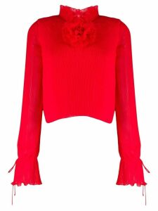 Marco De Vincenzo pleated flower detail blouse - Red