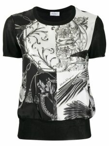 Salvatore Ferragamo printed insert knit top - Black