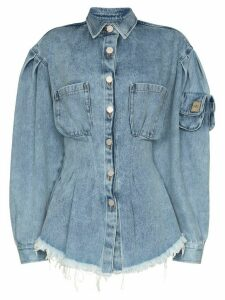 Natasha Zinko corseted frayed hem denim shirt - Blue