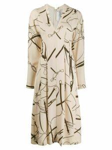 Victoria Beckham belt print midi dress - White