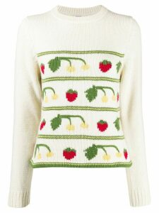 Shrimps fruit intarsia jumper - NEUTRALS