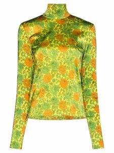 Marques'Almeida Floral satin turtleneck top - Green