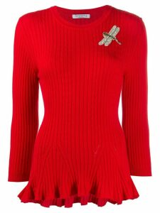 Vivetta knitted dragon fly appliqué jumper - Red