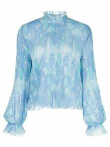 GANNI floral print pleated blouse - Blue