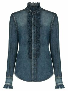 Saint Laurent ruffled denim shirt - Blue