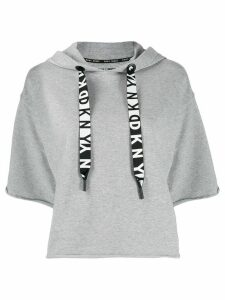 DKNY logo drawstring short-sleeved hoodie - Grey