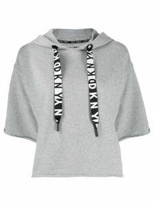 DKNY logo drawstring short-sleeved hoodie - Grey