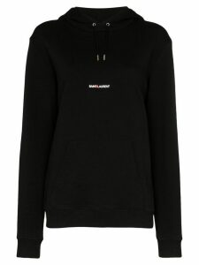 Saint Laurent logo-print cotton hoodie - Black