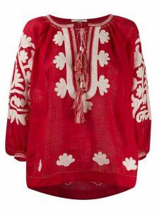 Vita Kin Shalimar floral-appliqué linen blouse - Red