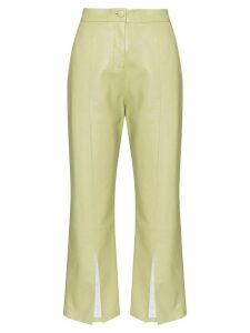 Matériel cropped faux leather flared trousers - Green