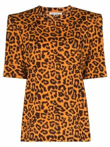The Attico leopard print padded shoulder T-shirt - ORANGE
