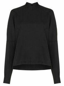 Carcel high V-neck silk blouse - Black