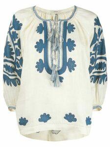 Vita Kin Shalimar floral-appliqué linen blouse - NEUTRALS