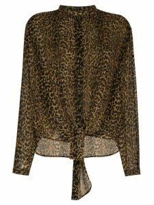 Saint Laurent leopard-print wool shirt - Black