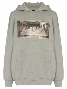 Browns X Sara Shakeel crystal last supper printed hoodie - Grey