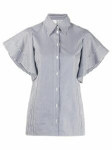 Victoria Victoria Beckham striped ruffled-sleeve shirt - Blue