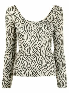 Nanushka Aurelia zebra knitted top - NEUTRALS