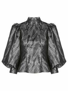 GANNI metallic puffed-sleeves blouse - Black