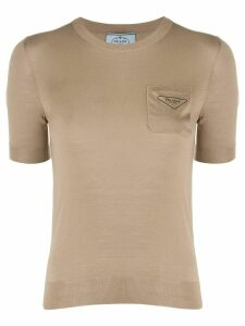 Prada chest pocket crew neck top - Brown
