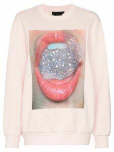 Browns X Sara Shakeel crystal mouth-print cotton sweatshirt - PINK