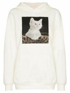 Browns X Sara Shakeel crystal kitten print hoodie - White