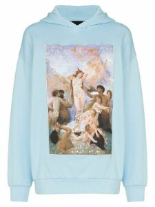 Browns X Sara Shakeel Swarovski crystal Holy Birth print hoodie - Blue