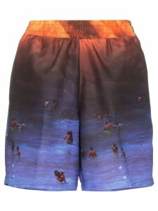 Browns X Sara Shakeel scenescape shorts - ORANGE