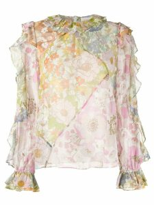 Zimmermann floral print sheer blouse - ORANGE