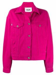MSGM oversized logo denim jacket - PINK