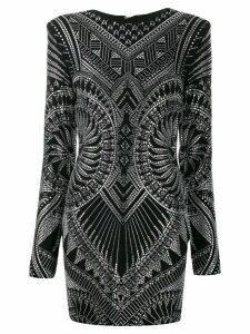 Balmain crystal-embellished fitted dress - Black