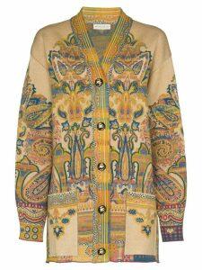 Etro paisley jacquard cardigan - NEUTRALS