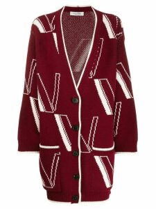 Valentino logo detail cardi-coat - Red
